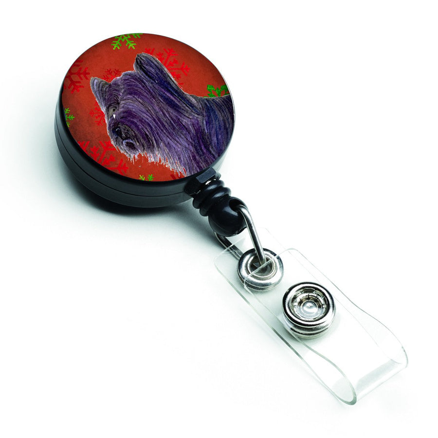Buy this Skye Terrier Red Green Snowflake Holiday Christmas Retractable Badge Reel SS4670BR