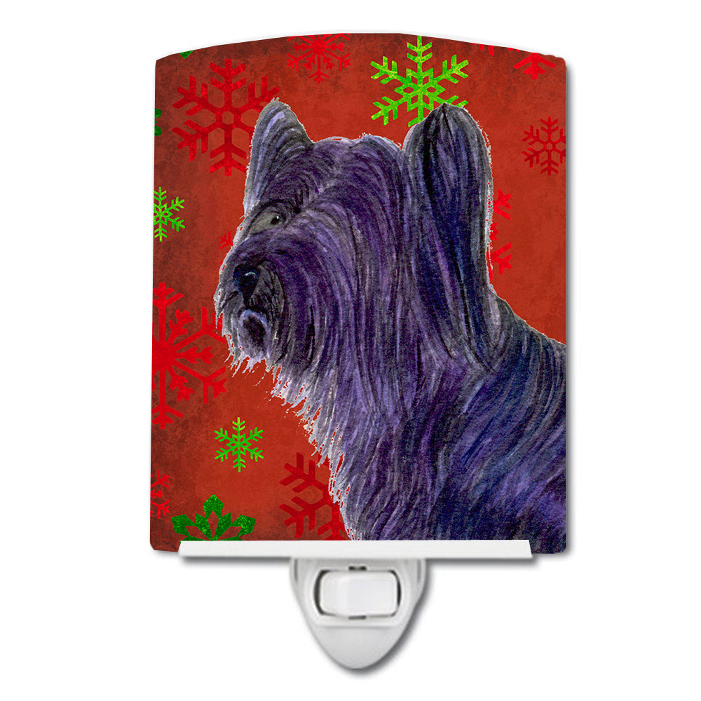 Buy this Skye Terrier Red Green Snowflake Holiday Christmas Ceramic Night Light SS4670CNL