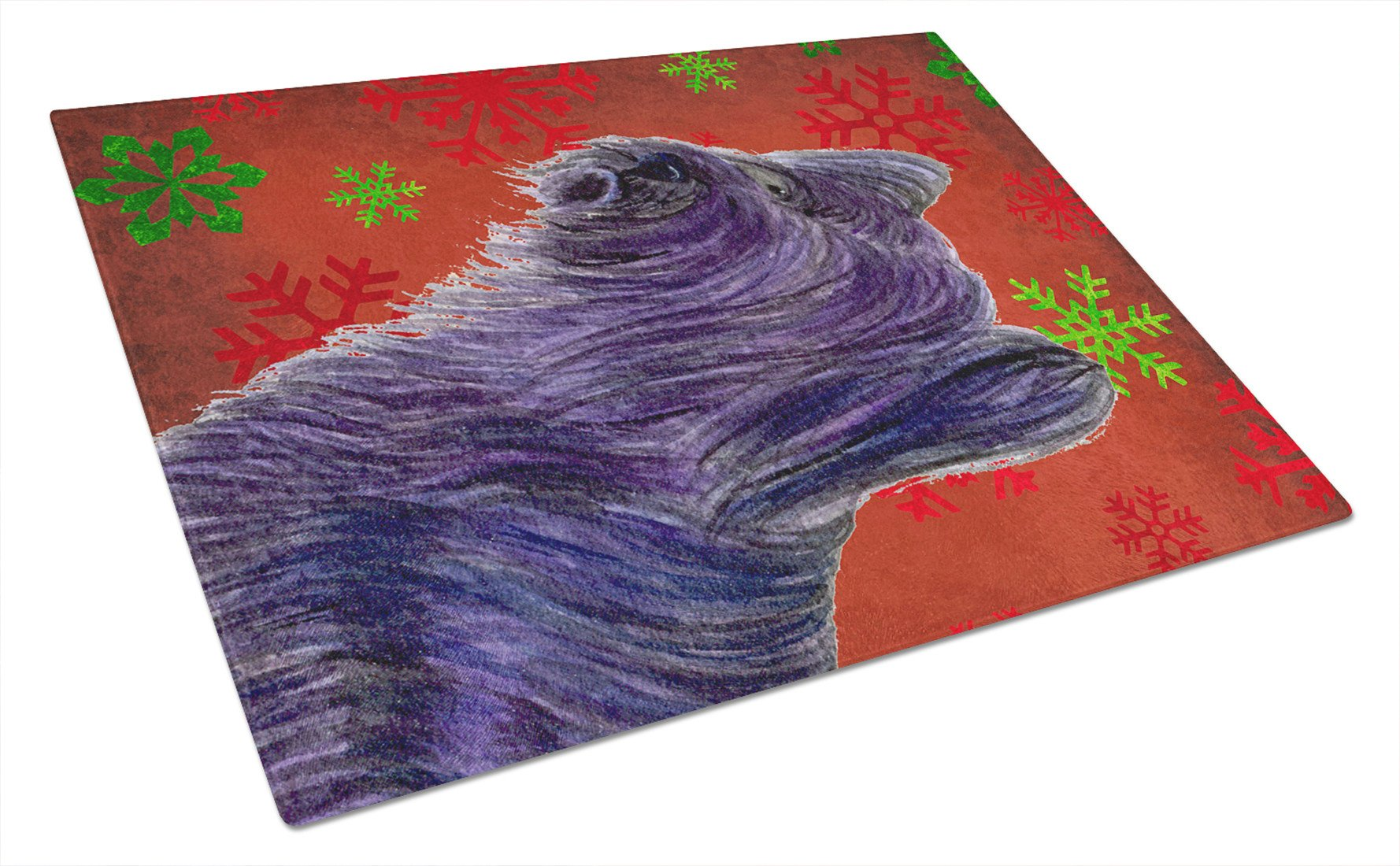 Buy this Skye Terrier Red and Green Snowflakes  Christmas Glass Cutting Board Large