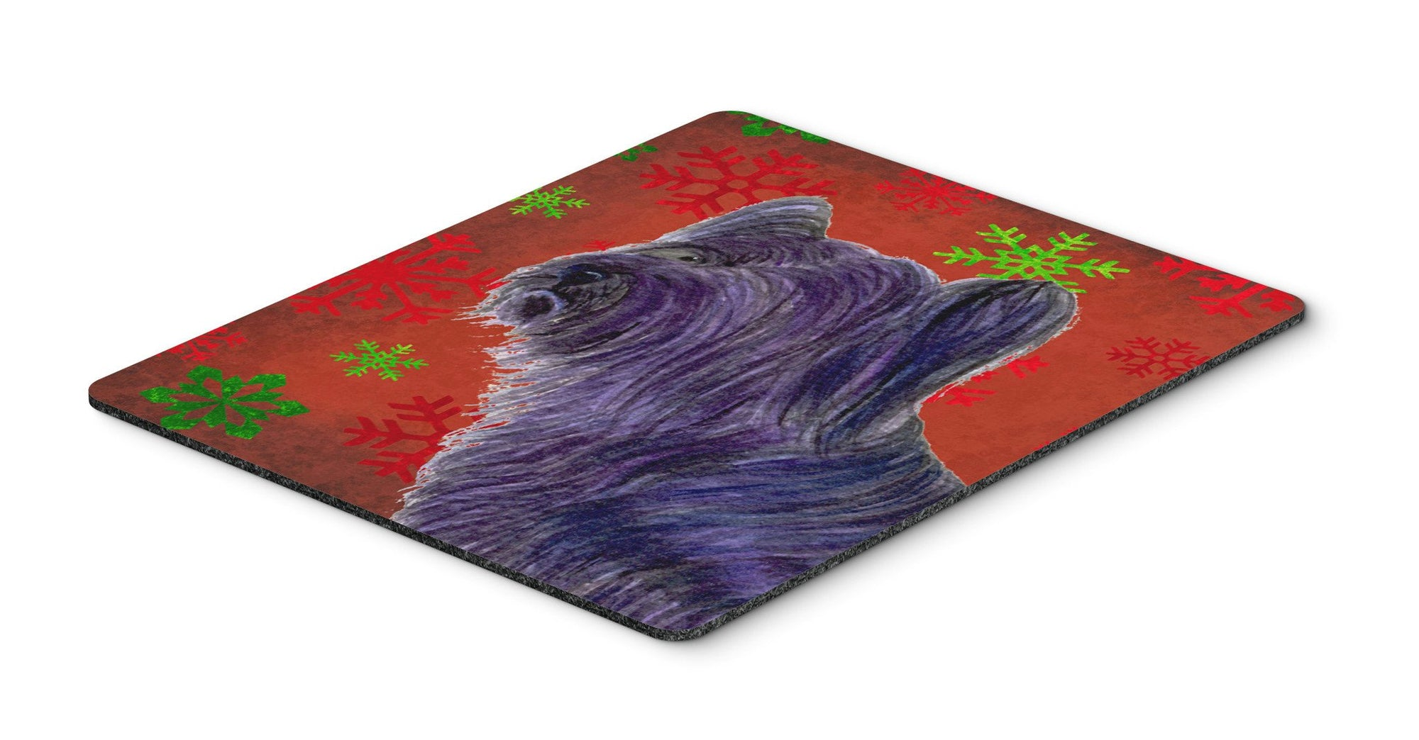 Skye Terrier Red and Green Snowflakes Christmas Mouse Pad, Hot Pad or Trivet by Caroline's Treasures