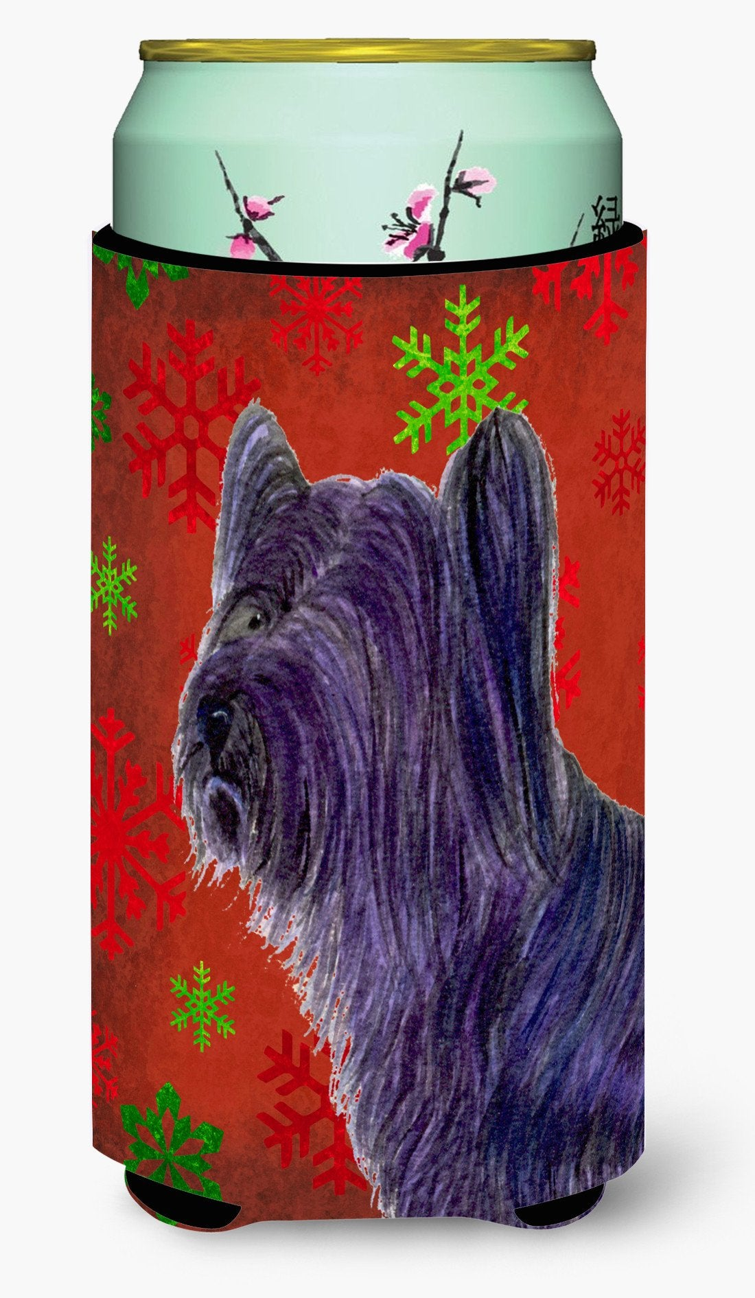 Buy this Skye Terrier Red Green Snowflake Holiday Christmas  Tall Boy Beverage Insulator Beverage Insulator Hugger