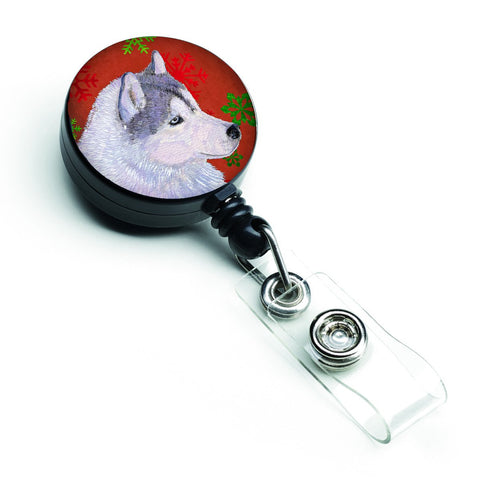 Buy this Siberian Husky Red Green Snowflake Holiday Christmas Retractable Badge Reel SS4671BR
