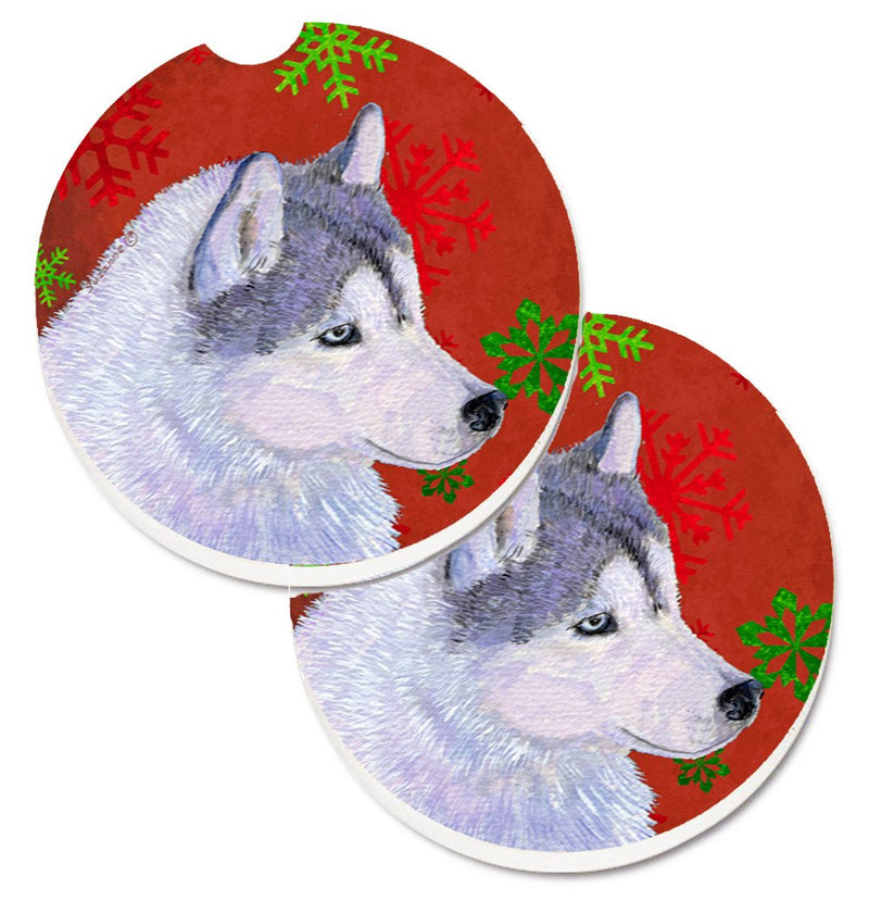 Buy this Siberian Husky Red Green Snowflake Holiday Christmas Set of 2 Cup Holder Car Coasters SS4671CARC