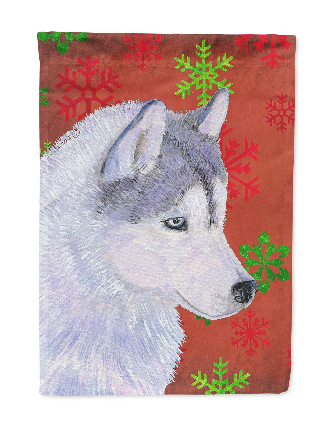 Buy this Siberian Husky Red Green Snowflake Holiday Christmas Flag Garden Size