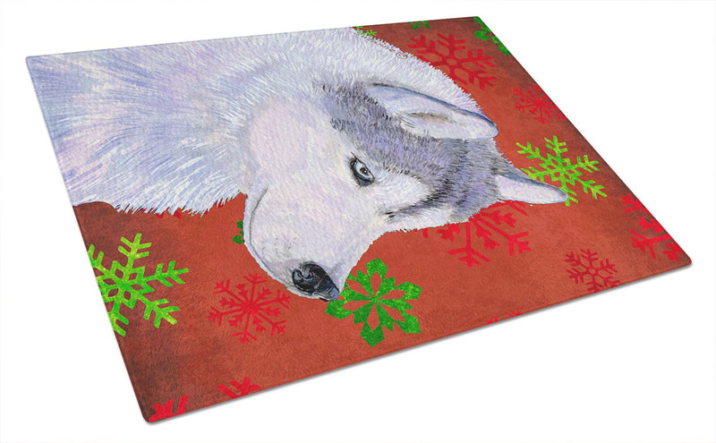 Buy this Siberian Husky Red and Green Snowflakes  Christmas Glass Cutting Board Large