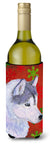Buy this Siberian Husky Red Green Snowflake Holiday Christmas Wine Bottle Beverage Insulator Beverage Insulator Hugger