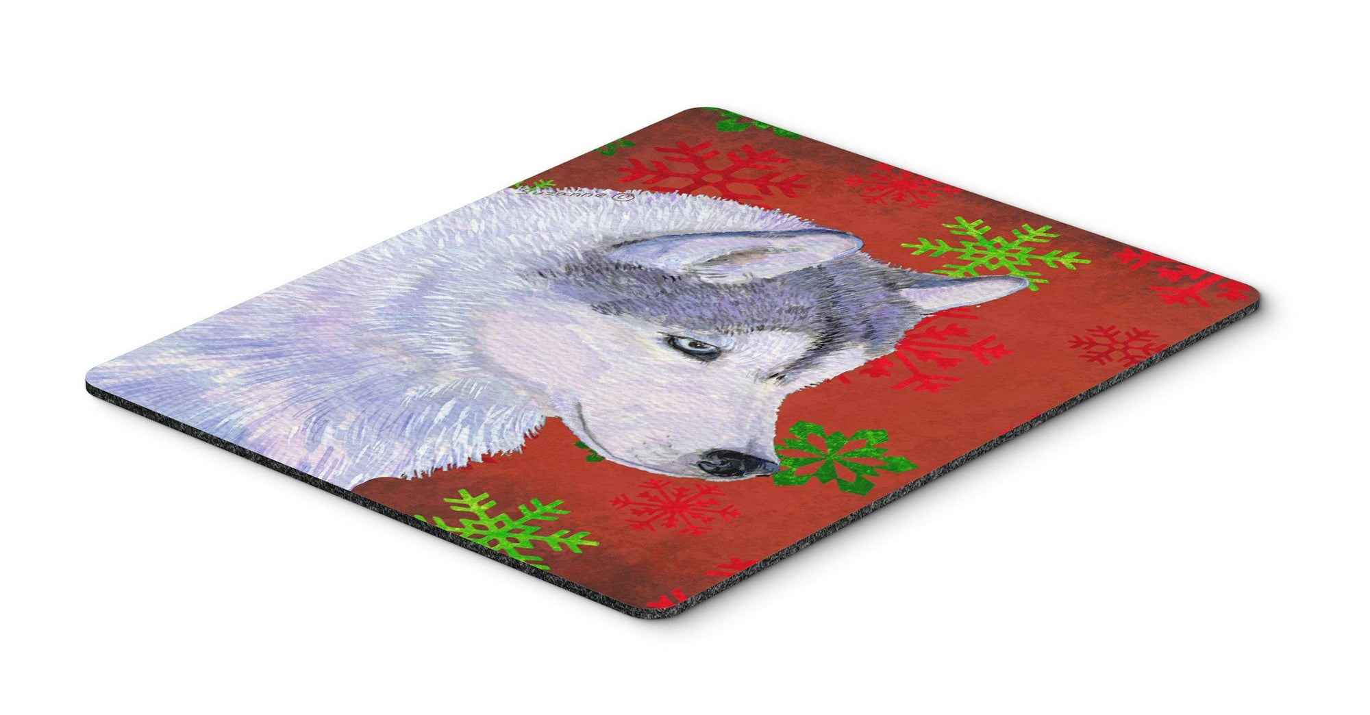 Buy this Siberian Husky Red and Green Snowflakes Christmas Mouse Pad, Hot Pad or Trivet