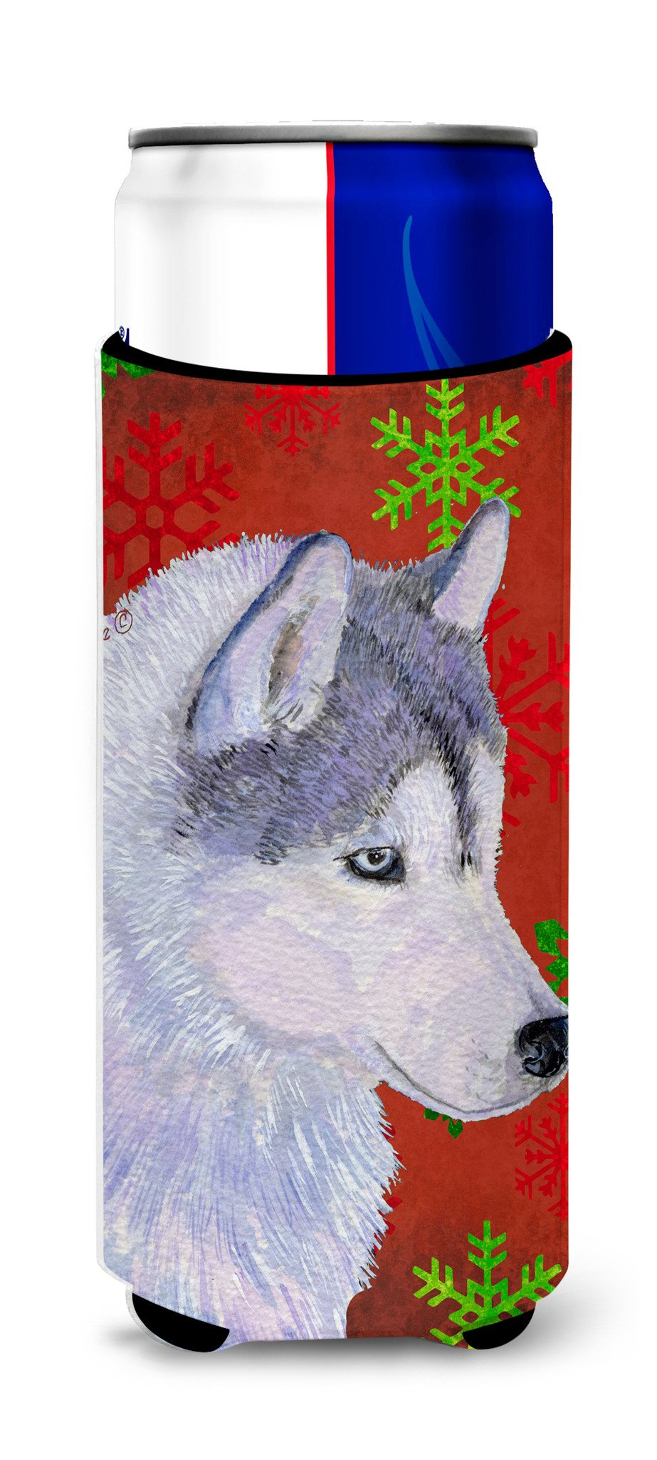 Siberian Husky Red Green Snowflake Holiday Christmas Ultra Beverage Insulators for slim cans SS4671MUK by Caroline's Treasures