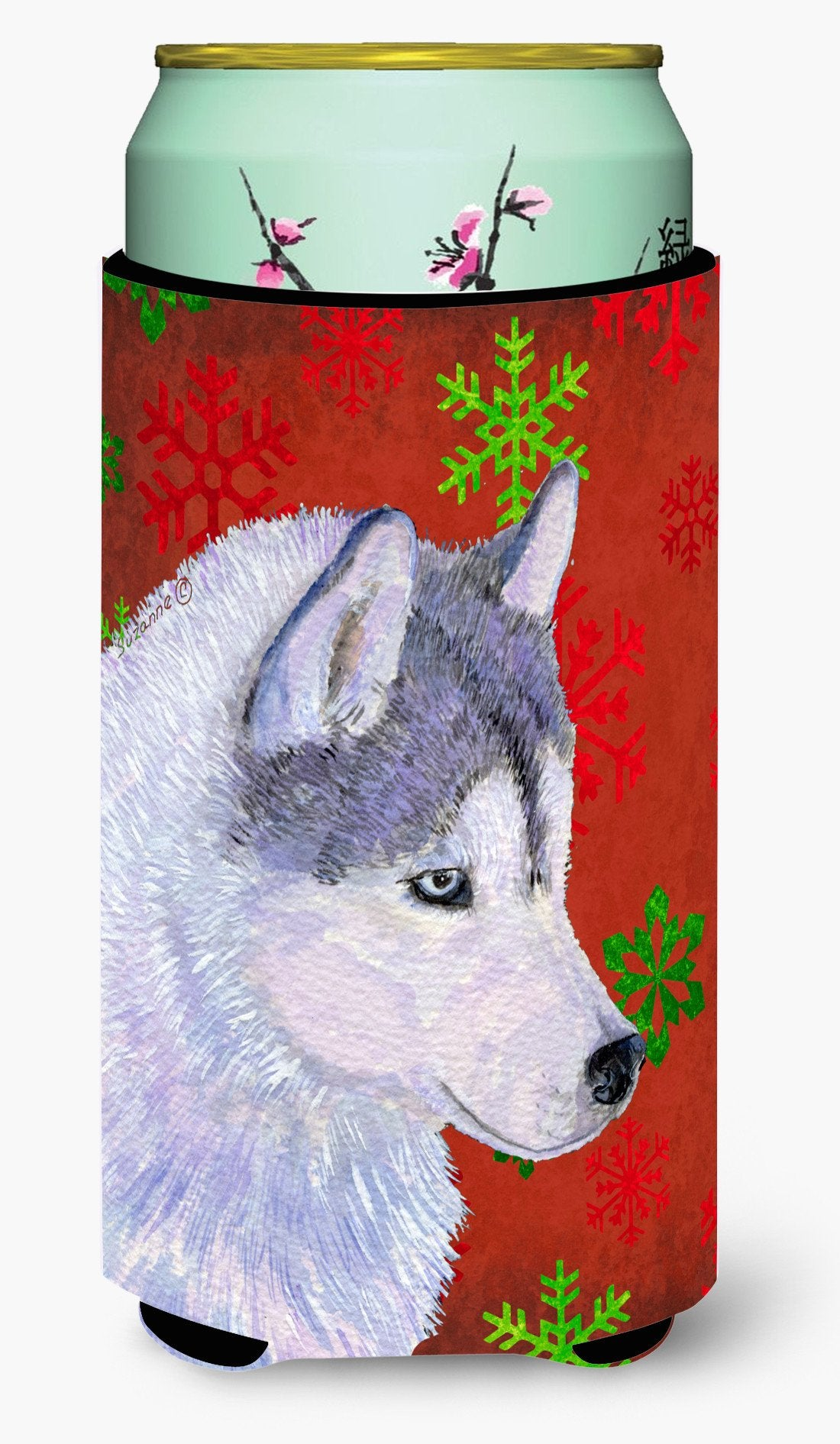 Buy this Siberian Husky Red Green Snowflake Holiday Christmas  Tall Boy Beverage Insulator Beverage Insulator Hugger