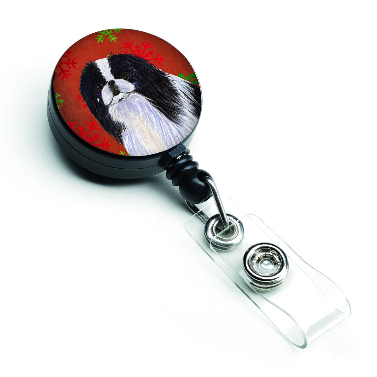 Japanese Chin Red and Green Snowflakes Holiday Christmas Retractable Badge Reel SS4674BR by Caroline's Treasures