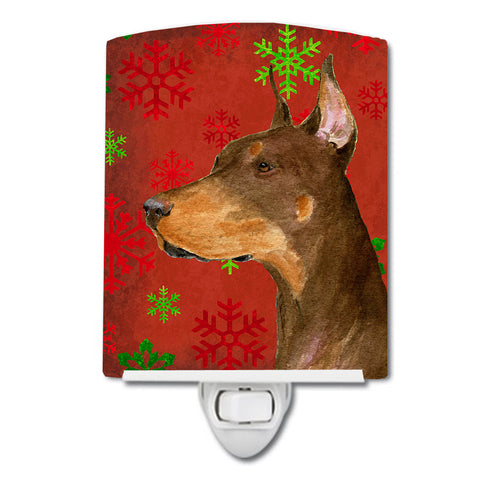Buy this Doberman Red and Green Snowflakes Holiday Christmas Ceramic Night Light SS4675CNL