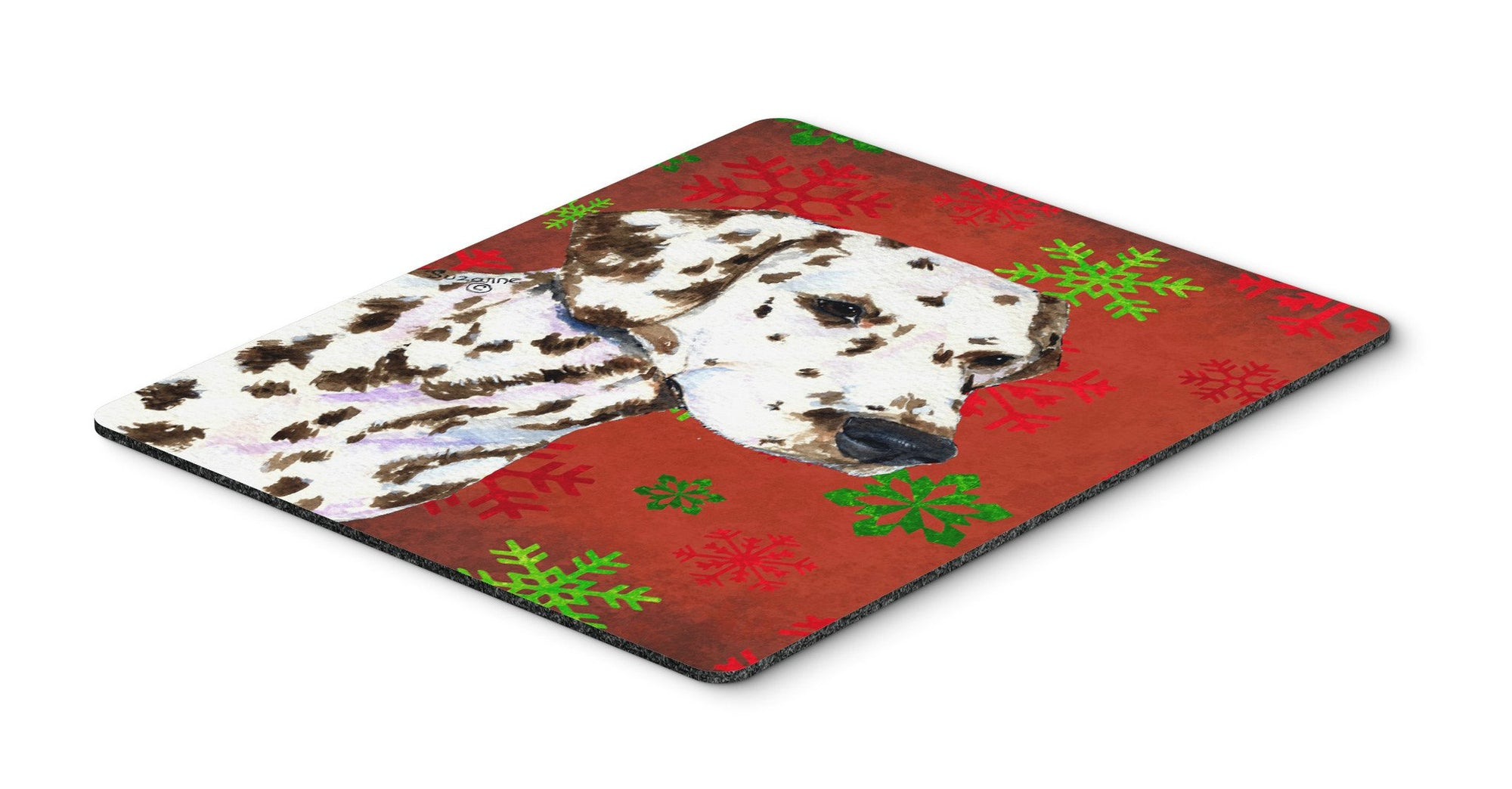 Dalmatian Red and Green Snowflakes Christmas Mouse Pad, Hot Pad or Trivet by Caroline's Treasures