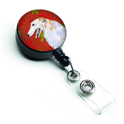 Buy this Borzoi Red and Green Snowflakes Holiday Christmas Retractable Badge Reel SS4682BR