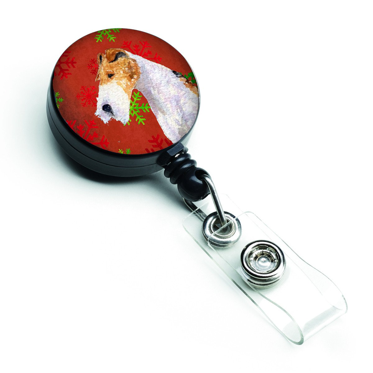 Fox Terrier Red and Green Snowflakes Holiday Christmas Retractable Badge Reel SS4685BR by Caroline's Treasures