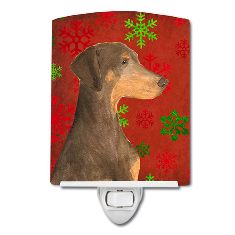 Buy this Doberman Red and Green Snowflakes Holiday Christmas Ceramic Night Light SS4686CNL