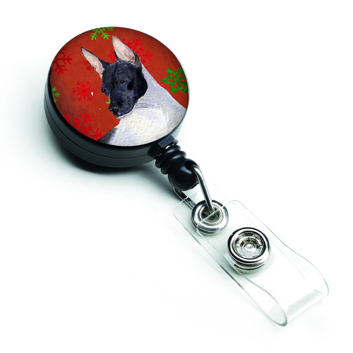 Buy this Rat Terrier Red and Green Snowflakes Holiday Christmas Retractable Badge Reel SS4687BR