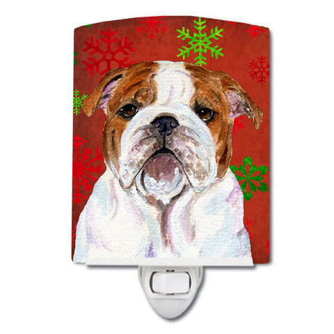Buy this Bulldog English Red and Green Snowflakes Holiday Christmas Ceramic Night Light SS4691CNL