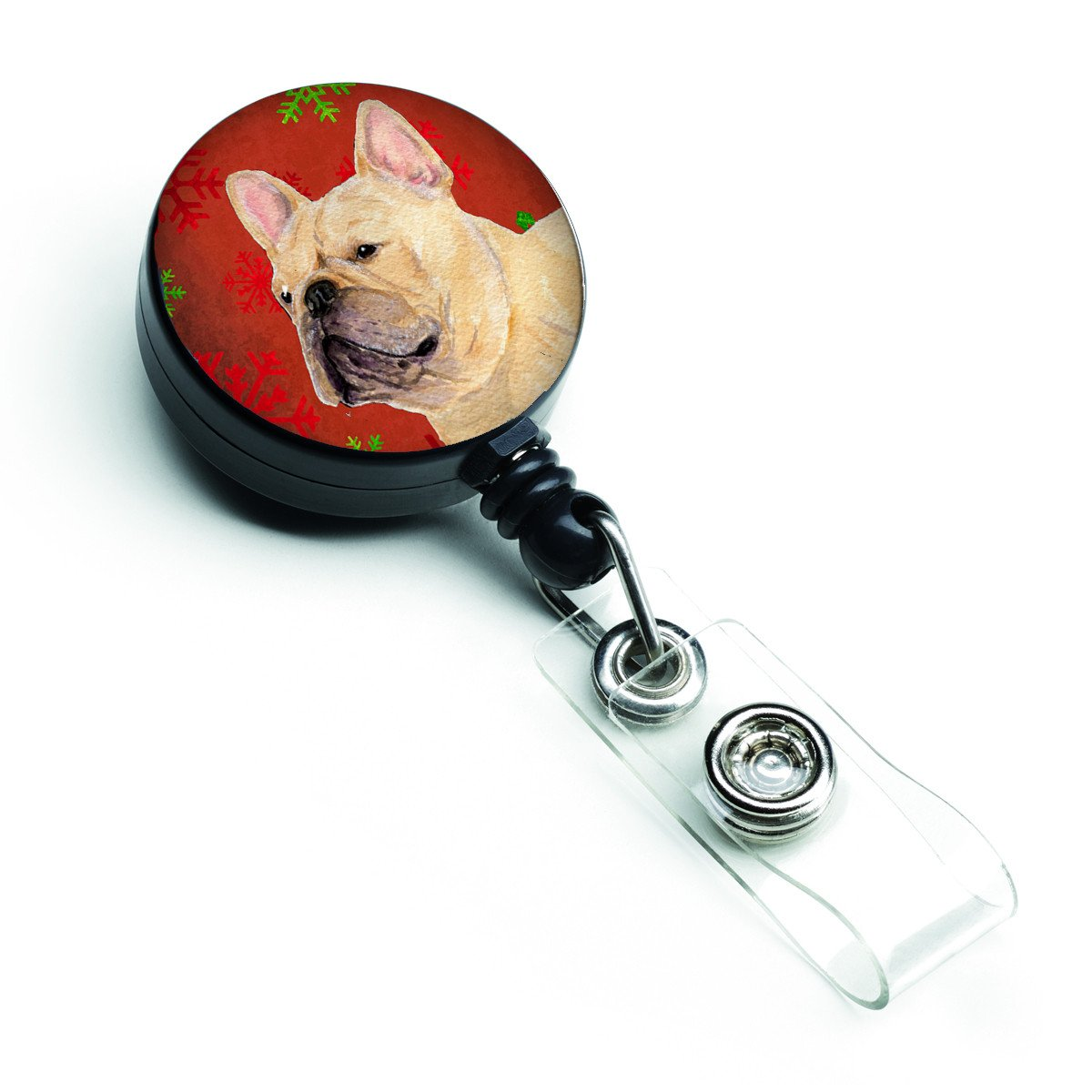 French Bulldog Red and Green Snowflakes Holiday Christmas Retractable Badge Reel SS4692BR by Caroline's Treasures