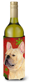 French Bulldog Snowflakes Holiday Christmas Wine Bottle Beverage Insulator Beverage Insulator Hugger by Caroline's Treasures