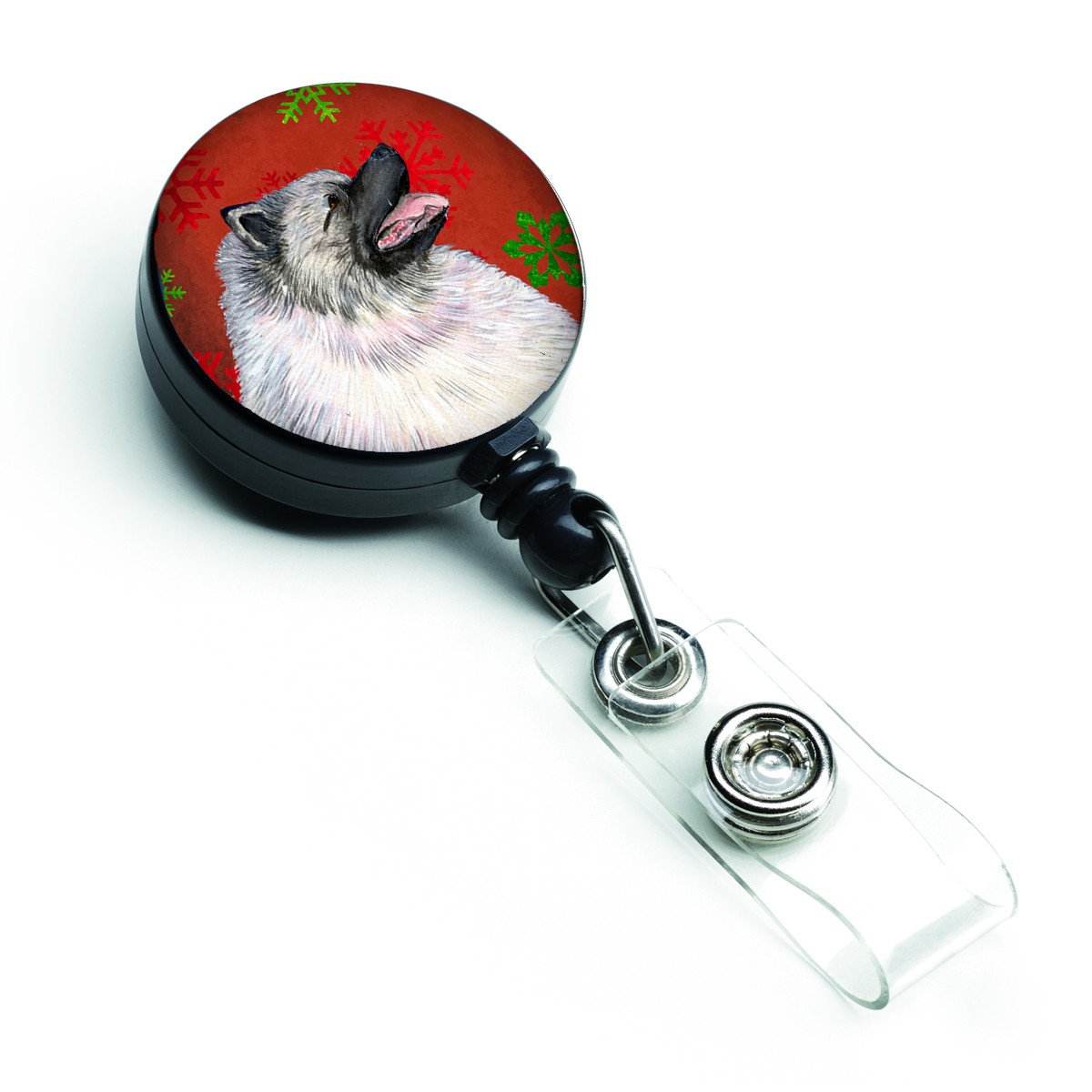 Keeshond Red and Green Snowflakes Holiday Christmas Retractable Badge Reel SS4695BR by Caroline's Treasures