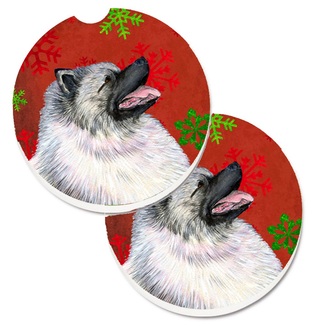 Keeshond Red and Green Snowflakes Holiday Christmas Set of 2 Cup Holder Car Coasters SS4695CARC by Caroline's Treasures
