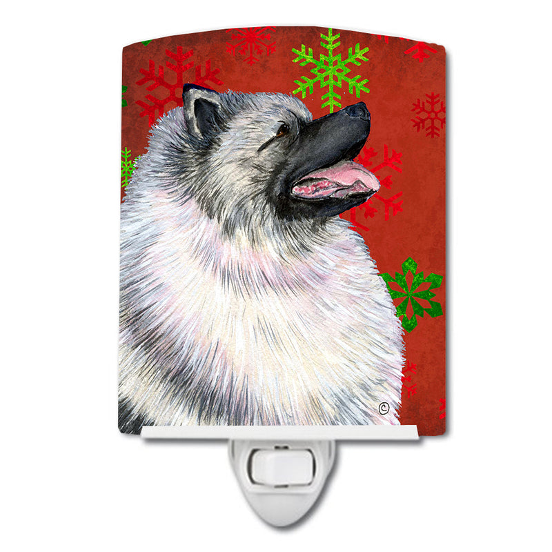 Buy this Keeshond Red and Green Snowflakes Holiday Christmas Ceramic Night Light SS4695CNL