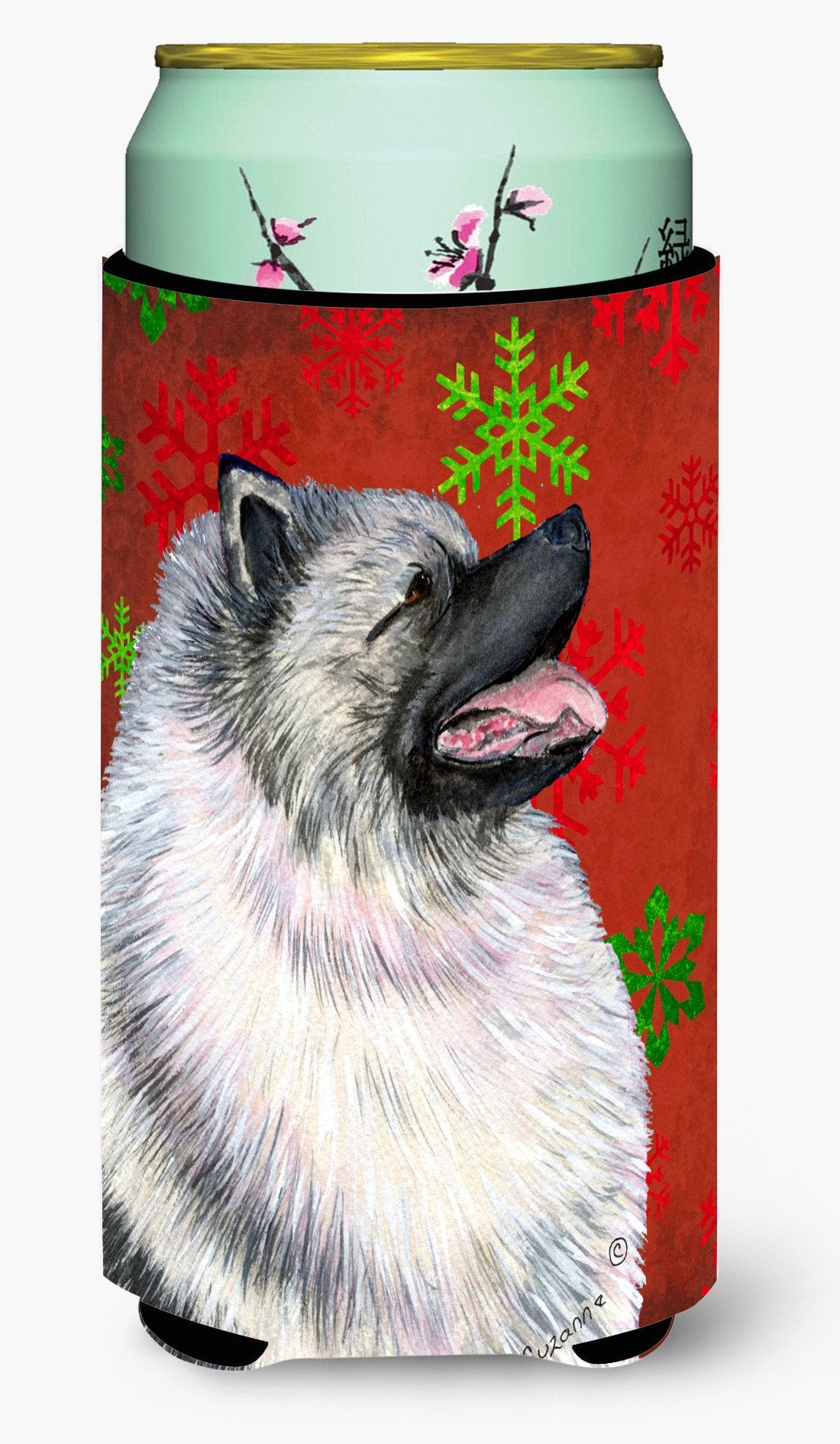 Keeshond Red and Green Snowflakes Holiday Christmas  Tall Boy Beverage Insulator Beverage Insulator Hugger by Caroline's Treasures
