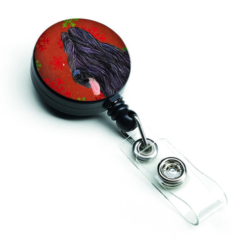 Buy this Briard Red and Green Snowflakes Holiday Christmas Retractable Badge Reel SS4696BR