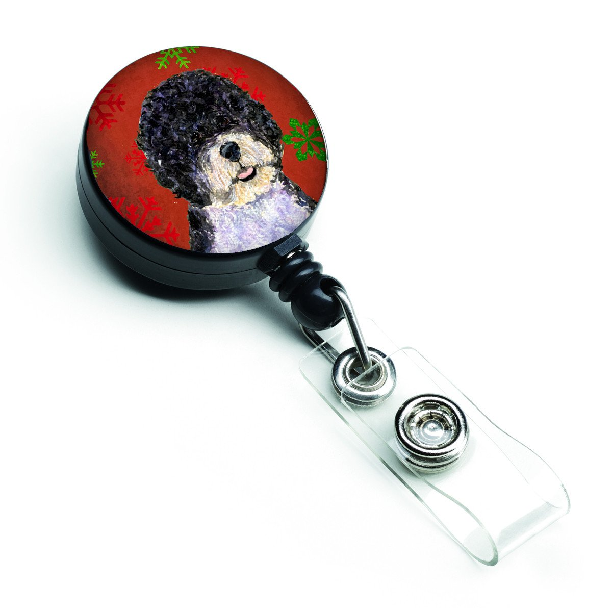 Portuguese Water Dog Red Green Snowflake Christmas Retractable Badge Reel SS4697BR by Caroline's Treasures