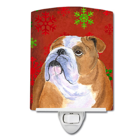 Buy this Bulldog English Red and Green Snowflakes Holiday Christmas Ceramic Night Light SS4698CNL