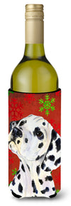 Dalmatian Red and Green Snowflakes Holiday Christmas Wine Bottle Beverage Insulator Beverage Insulator Hugger by Caroline's Treasures