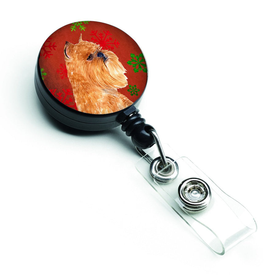 Buy this Brussels Griffon Red and Green Snowflakes Holiday Christmas Retractable Badge Reel SS4701BR