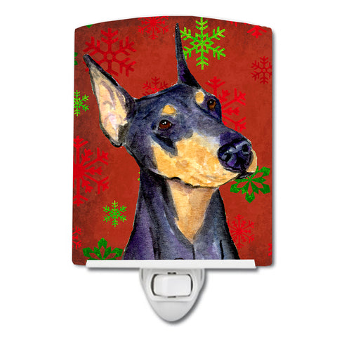 Buy this Doberman Red and Green Snowflakes Holiday Christmas Ceramic Night Light SS4702CNL