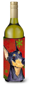Doberman Red and Green Snowflakes Holiday Christmas Wine Bottle Beverage Insulator by Caroline's Treasures