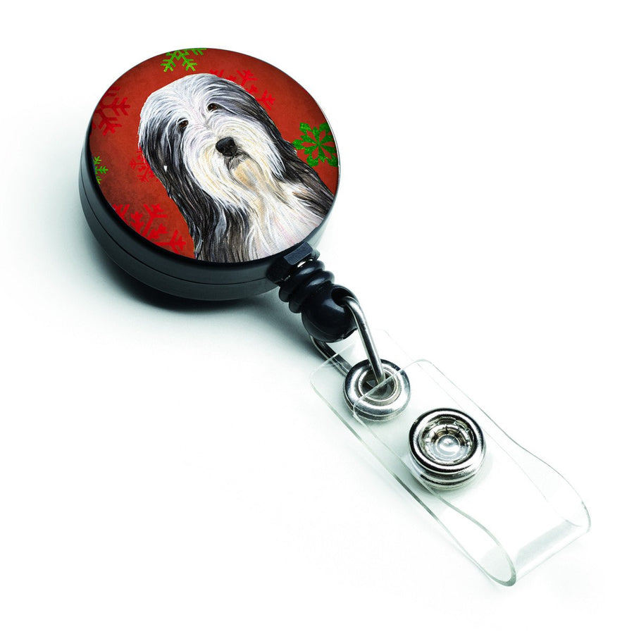 Buy this Bearded Collie Red and Green Snowflakes Holiday Christmas Retractable Badge Reel SS4704BR