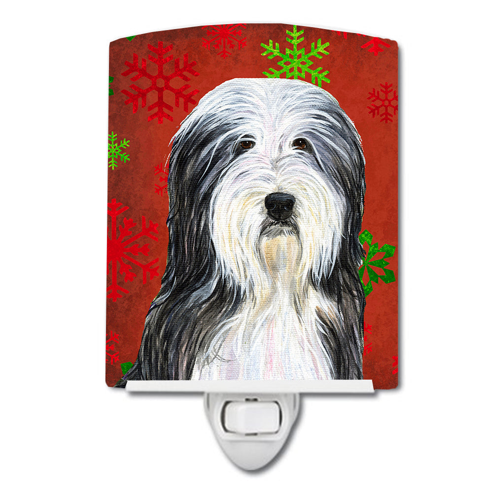 Buy this Bearded Collie Red and Green Snowflakes Holiday Christmas Ceramic Night Light SS4704CNL