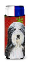 Bearded Collie Red and Green Snowflakes Holiday Christmas Ultra Beverage Insulators for slim cans SS4704MUK by Caroline's Treasures