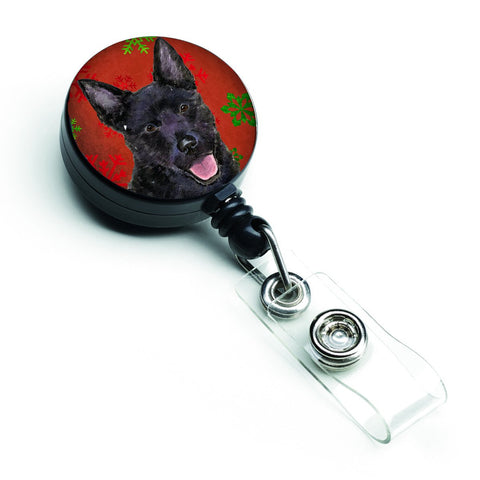 Buy this Australian Kelpie Red Green Snowflakes Christmas Retractable Badge Reel SS4705BR