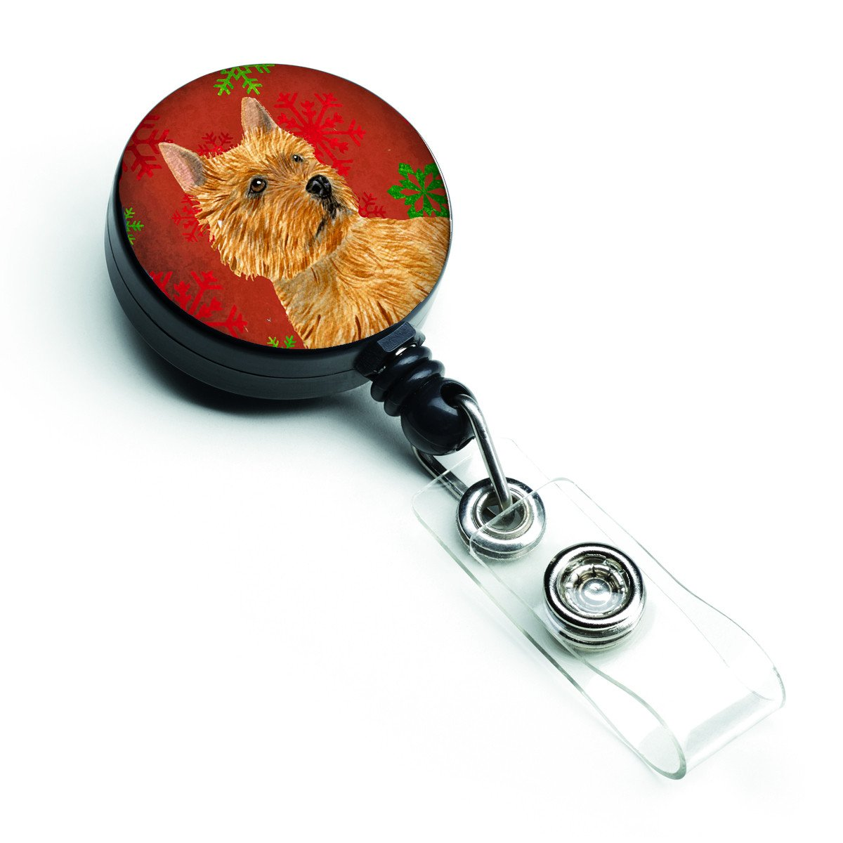 Norwich Terrier Red and Green Snowflakes Holiday Christmas Retractable Badge Reel SS4706BR by Caroline's Treasures