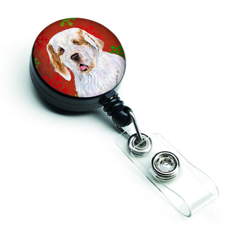 Buy this Clumber Spaniel Red and Green Snowflakes Holiday Christmas Retractable Badge Reel SS4707BR