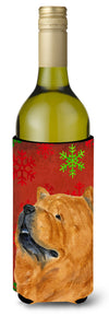 Chow Chow Red and Green Snowflakes Holiday Christmas Wine Bottle Beverage Insulator by Caroline's Treasures