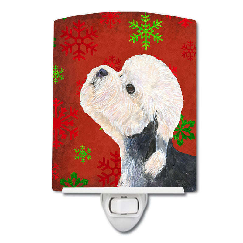 Buy this Dandie Dinmont Terrier Red Green Snowflakes Christmas Ceramic Night Light SS4710CNL