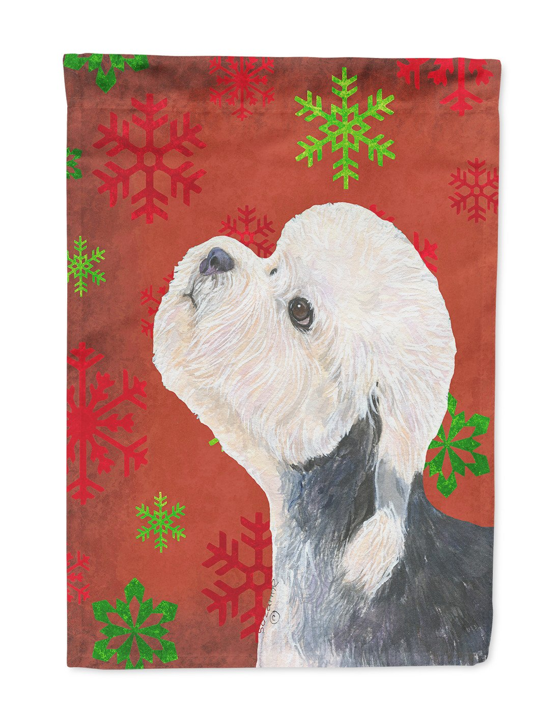 Dandie Dinmont Terrier Red Green Snowflakes Christmas Flag Garden Size by Caroline's Treasures