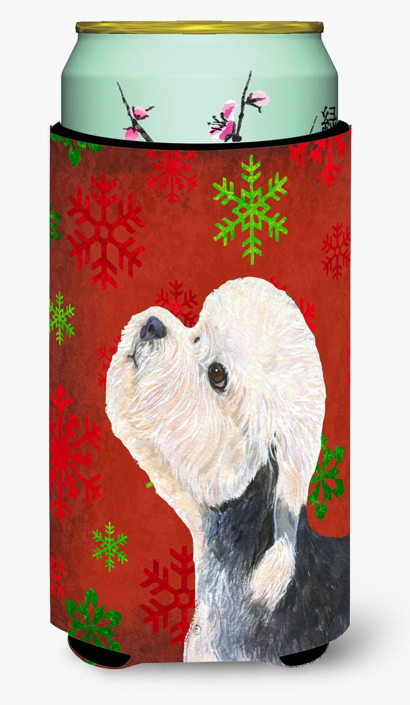 Dandie Dinmont Terrier Red Green Snowflakes Christmas  Tall Boy Beverage Insulator Beverage Insulator Hugger by Caroline's Treasures