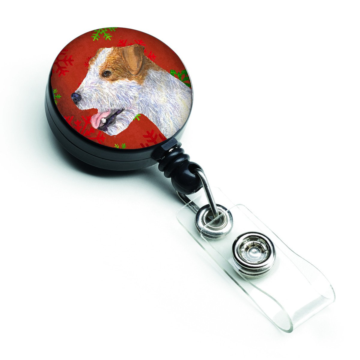 Jack Russell Terrier Red Green Snowflakes Holiday Christmas Retractable Badge Reel SS4711BR by Caroline's Treasures