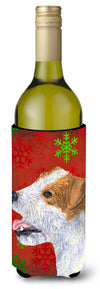Buy this Jack Russell Terrier Red Green Snowflakes Holiday Christmas Wine Bottle Beverage Insulator