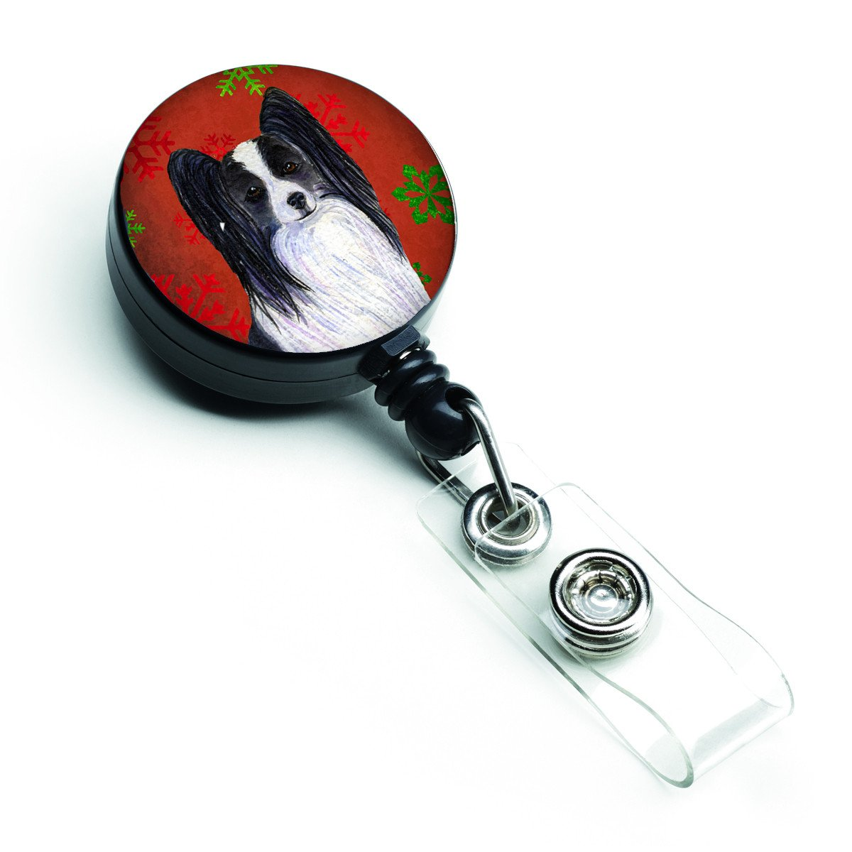 Papillon Red and Green Snowflakes Holiday Christmas Retractable Badge Reel SS4712BR by Caroline's Treasures