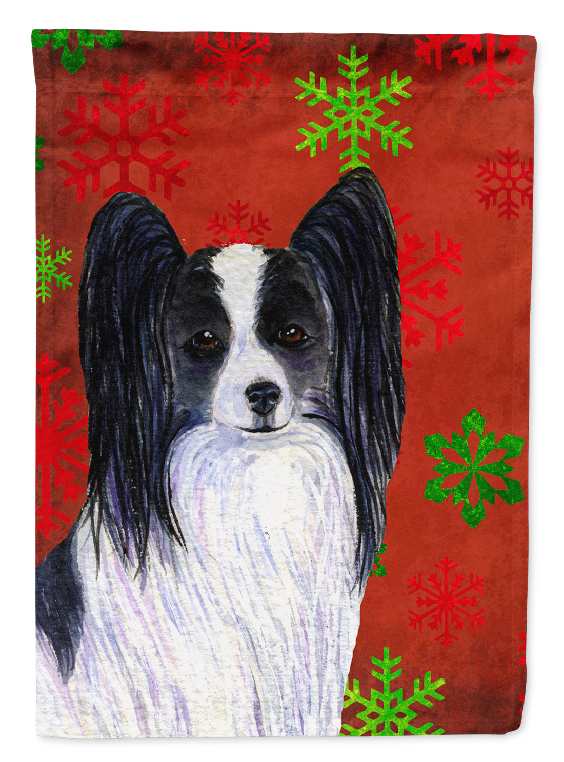 Buy this Papillon Red and Green Snowflakes Holiday Christmas Flag Garden Size