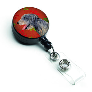 Buy this Irish Wolfhound Red and Green Snowflakes Holiday Christmas Retractable Badge Reel SS4713BR