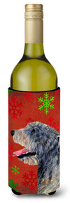Buy this Irish Wolfhound Red and Green Snowflakes Holiday Christmas Wine Bottle Beverage Insulator
